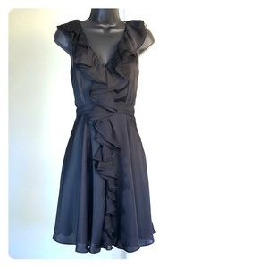 ARYN K sz S black silky chiffon dress